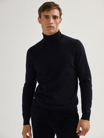 Vilnos ir kašmyro megztinis su atlenkiama apykakle