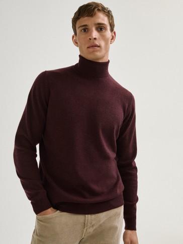 Pull à col roulé en laine cachemire