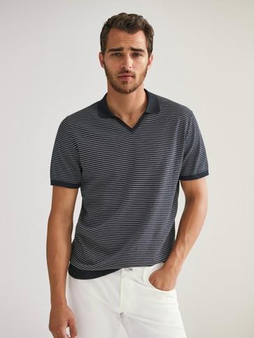 قميص بولو مقلم من القطن بأكمام قصيرة