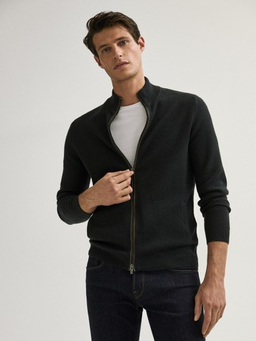 Cotton/silk cardigan with leather detail