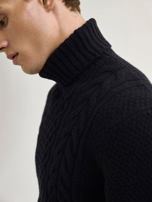 마시모두띠 Massimo Dutti Cable knit high neck sweater,NAVY BLUE