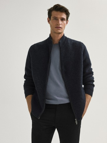 Three-tone wool/cashmere cardigan