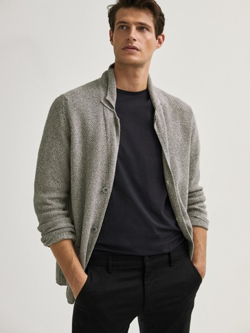 Mouliné cotton knit blazer