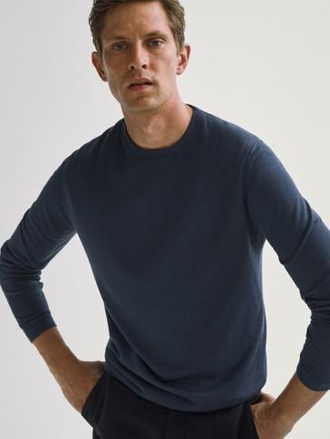 Camisola de decote redondo de lã merino