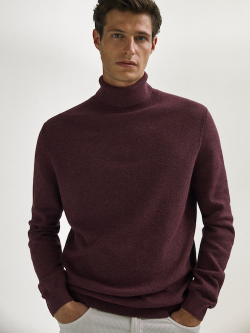 마시모두띠 Massimo Dutti Cotton/wool turtleneck sweater,BURGUNDY