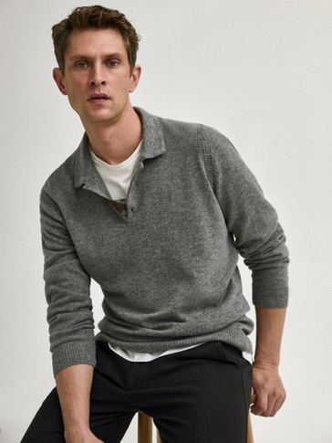 Wool polo sweater