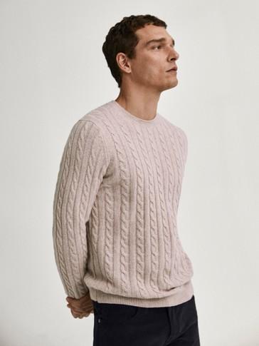 Jersey cuello redondo punto de cable lana
