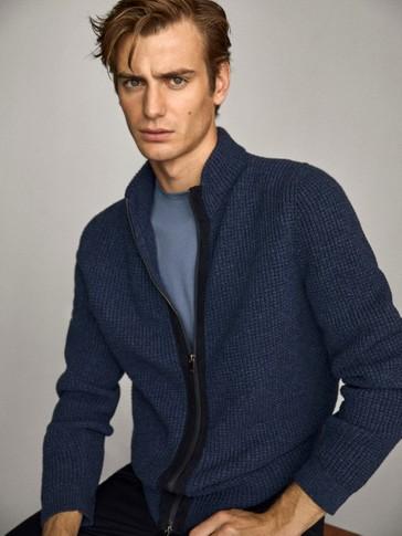 Cárdigan lana algodón detalle piel cremallera