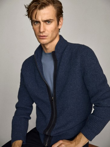 Cotton and wool cardigan with leather detail and zip