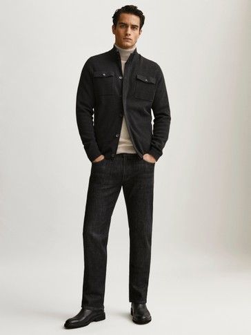 Cardigan with cargo pockets and leather detail