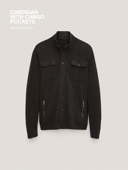 마시모두띠 Massimo Dutti Cardigan with cargo pockets and leather detail,CHARCOAL
