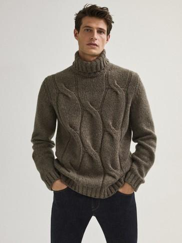 Pull à col roulé en maille torsadée en laine limited Edition