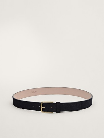 Embossed navy blue nubuck leather belt