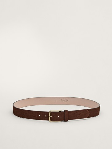 Embossed nubuck leather belt
