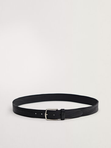 Black calfskin leather belt