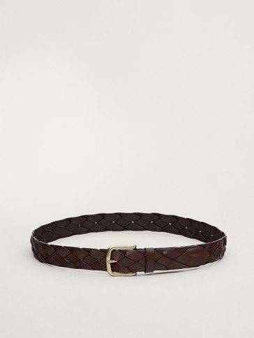 Braided calfskin leather belt