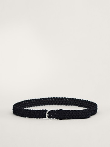 BRAIDED BLUE SPLIT SUEDE BELT