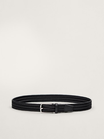 BLACK LEATHER BRAIDED STRETCH BELT