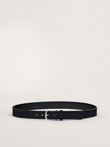 NAVY SPLIT SUEDE BELT