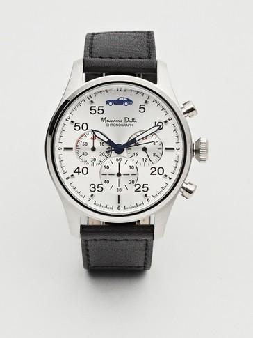 ساعة كرونو متعددة الوظائف بحزام جلدي