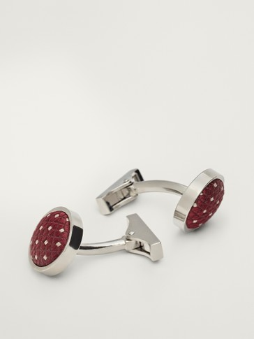 Burgundy fabric cufflinks