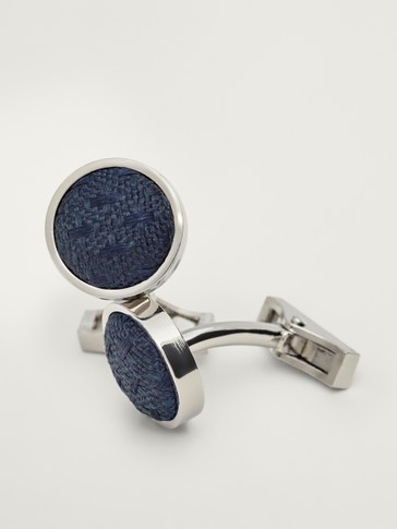 BLUE FABRIC CUFFLINKS