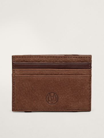 Nubuck leather card holder