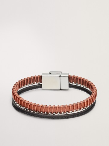 LEATHER BRACELET WITH BEAD DETAIL