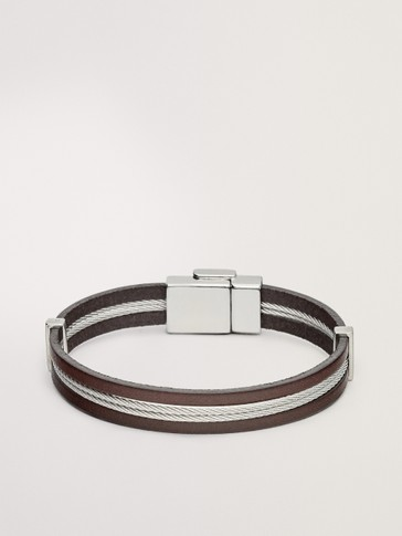 MATCHING LEATHER BRACELET WITH LOGO