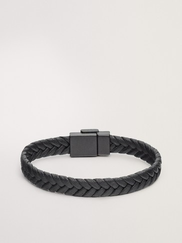 BRAIDED LEATHER BRACELET WITH LOGO