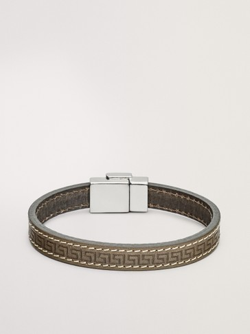 LEATHER BRACELET WITH GEOMETRIC MOTIFS