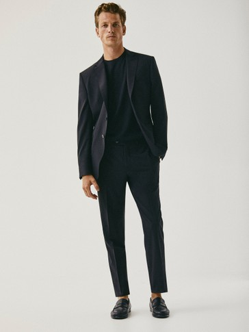 Black slim-fit textured wool blazer