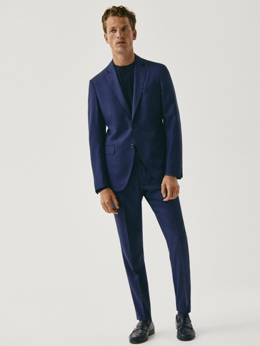 Navy slim fit wool microtextured suit blazer