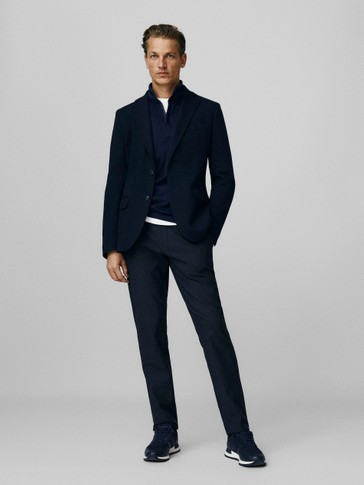 Navy blue slim fit cotton blazer
