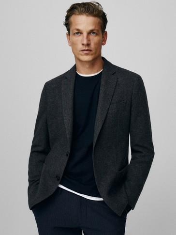 Slim fit plain 100% wool blazer