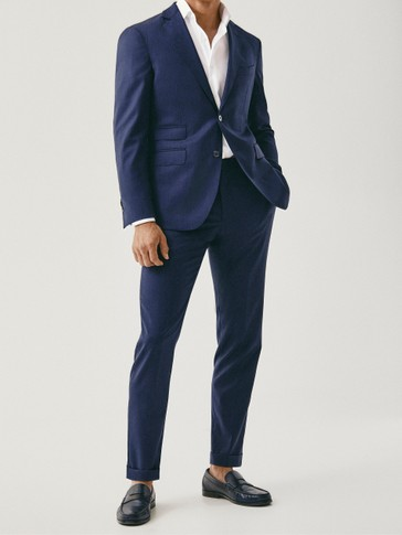 Slim fit super 120's wool textured weave blazer