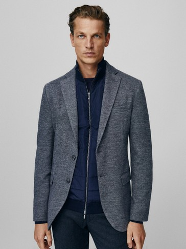 Slim fit wool cotton blazer