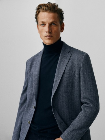 Slim-fit wool and cotton herringbone blazer