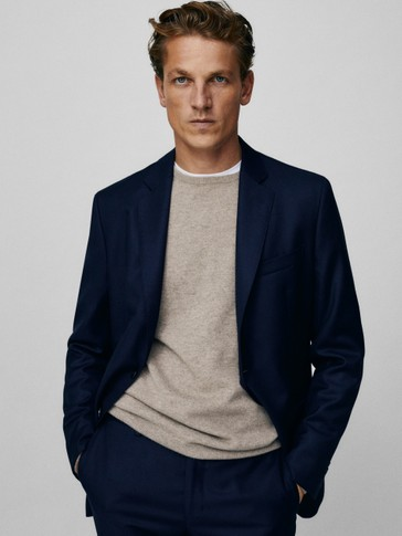 Slim fit textured s.130's wool half-canvas blazer