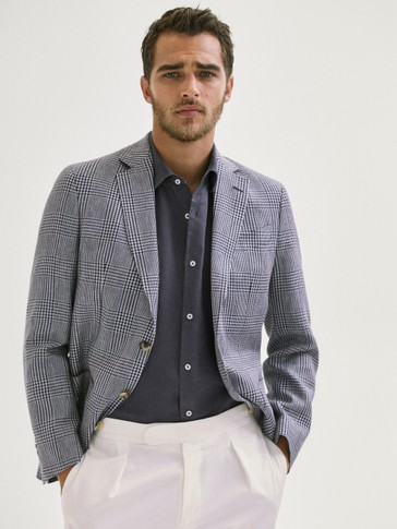 SMART GLEN PLAIDS WOOL/LINEN BLAZER