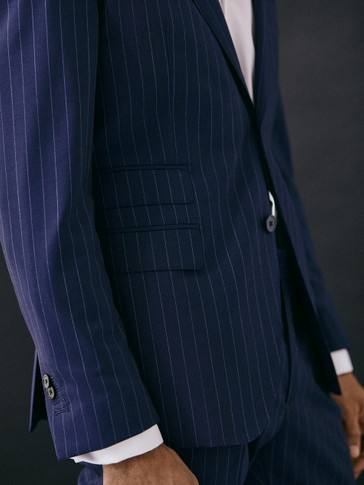Slim fit pinstripe navy 100% s.130's wool blazer