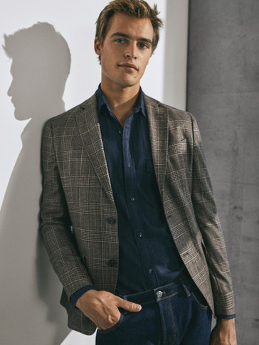 Limited Edition slim fit wool/silk check blazer