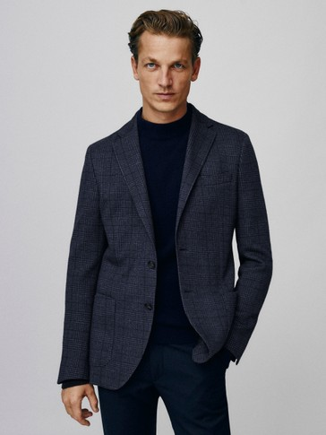Slim fit cotton and wool check blazer