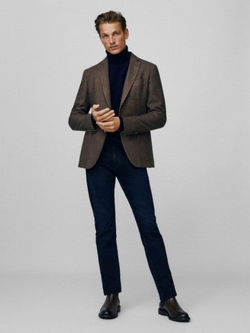 Slim fit dyed wool blazer
