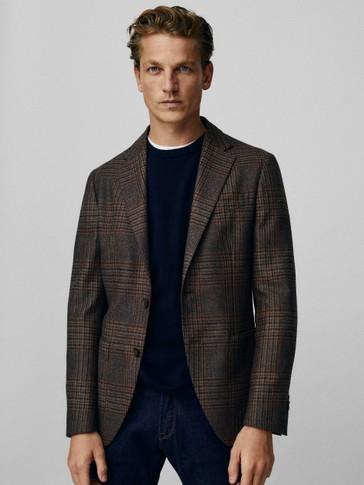 Slim fit check wool/silk blazer