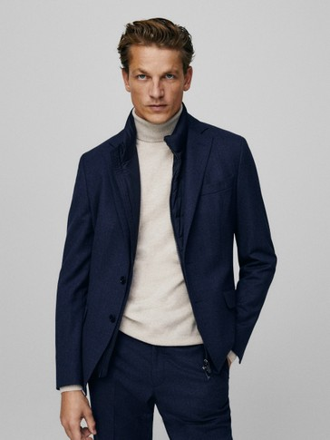 Veste en flanelle de laine pied-de-poule slim