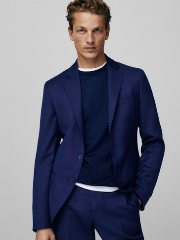 Slim-fit 100% wool bird's-eye blazer