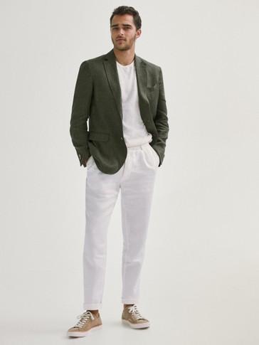 Slim fit false plain linen blazer
