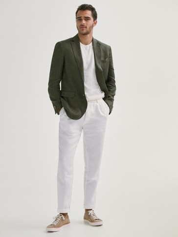 Slim fit false plain linen blazer
