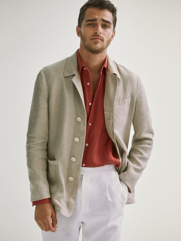 Slim fit dyed linen blazer